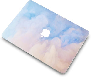Macbook Case 5 in 1 Bundle - Paint Collection - Blue Mist with Sleeve, Keyboard Cover, Screen Protector and USB Hub 3.0