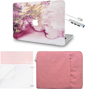 Macbook Case 5 in 1 Bundle - Marble Collection - Red Gold Marble with Sleeve, Keyboard Cover, Screen Protector and USB Hub 3.0