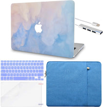 Load image into Gallery viewer, Macbook Case 5 in 1 Bundle - Paint Collection - Blue Mist with Sleeve, Keyboard Cover, Screen Protector and USB Hub 3.0