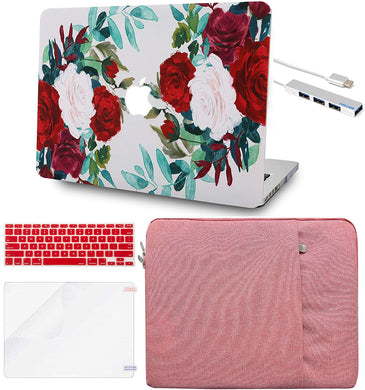 Macbook Case 5 in 1 Bundle - Flower Collection - Flower 25 with Sleeve, Keyboard Cover, Screen Protector and USB Hub 3.0