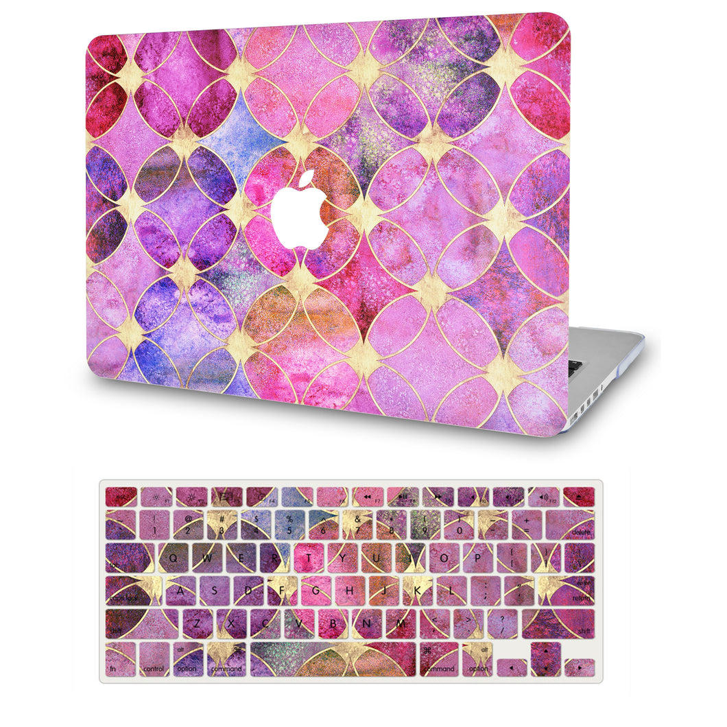 Macbook Case - Color Collection - Dyed Tiles with  Keyboard Cover