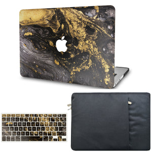 MacBook Case  - Marble Collection - Portoro Marble with Sleeve and Keyboard Cover