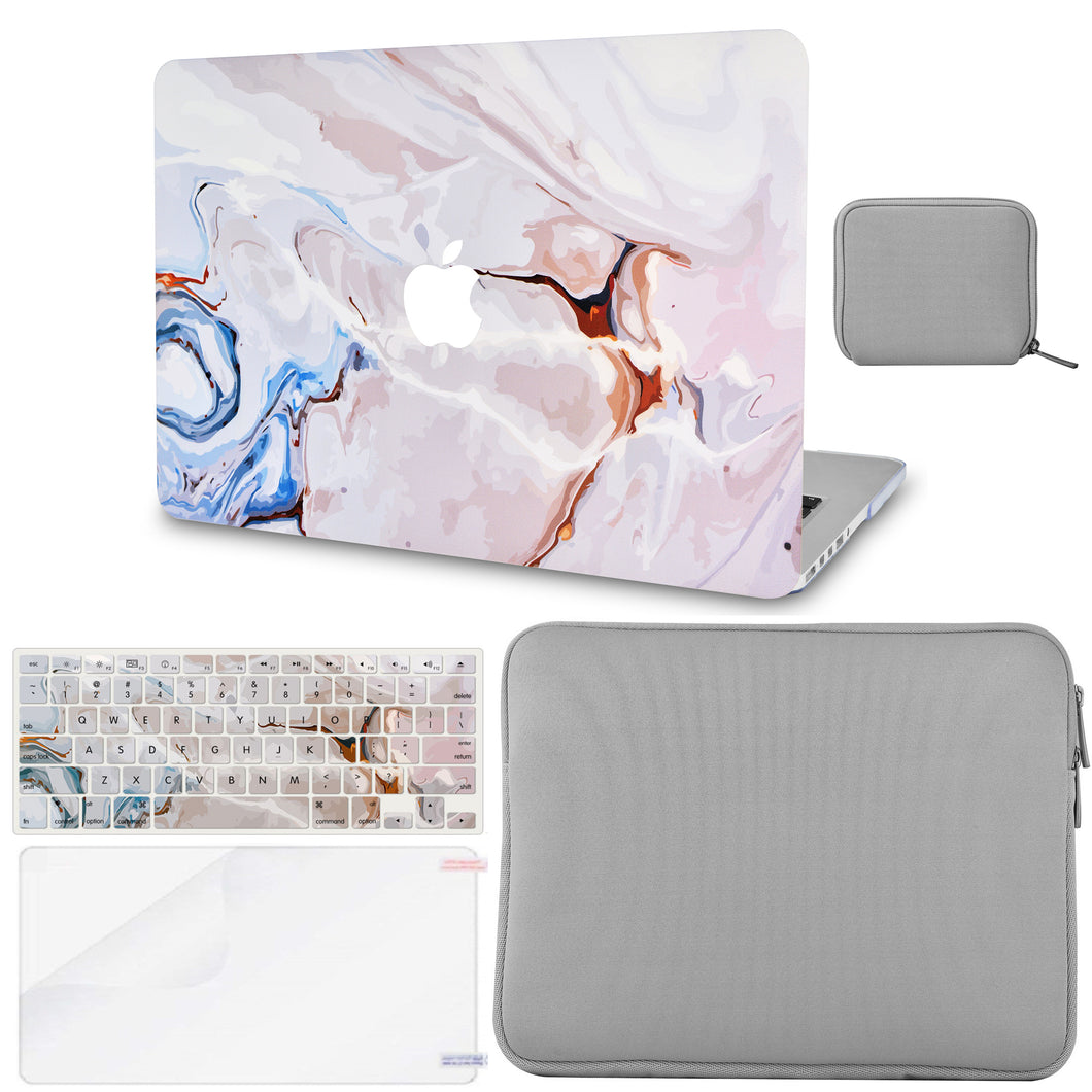 Macbook Case - Color Collection - Ivory Swirl with Matching Keyboard Cover ,Screen Protector ,Slim Sleeve ,Pouch