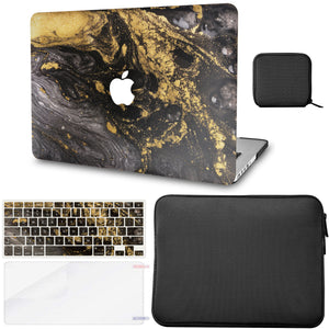 MacBook Case - Marble Collection - Portoro Marble with Slim Sleeve, Keyboard Cover, Screen Protector and Pouch