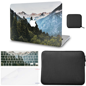 Macbook Case - Color Collection - Forest Mountain with Matching Keyboard Cover ,Screen Protector ,Slim Sleeve ,Pouch