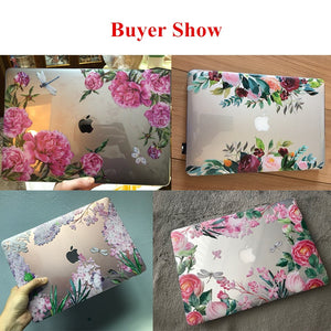 Macbook Case Bundle - Floral Collection - Lavender and Pink Sakura with US/CA Keyboard Cover, Dust Plug and Sleeve