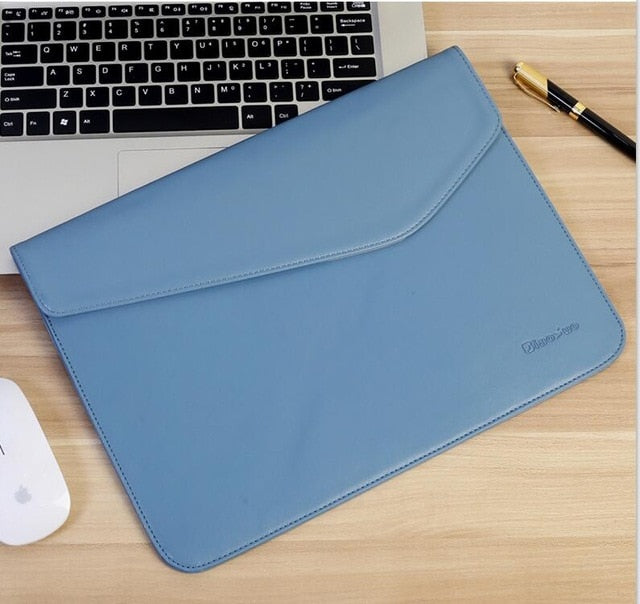 Laptop Sleeve - Leather Collection - 13 inch - Light Blue Envelope Horizontal