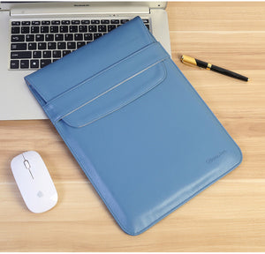 Laptop Sleeve - Leather Collection - 13 inch - Light Blue Envelope Vertical