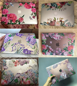 Macbook Case Bundle - Floral Collection - Lavender and Leaves with US/CA Keyboard Cover, Dust Plug and Sleeve