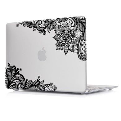 Macbook Case - Lace Collection - Clear Case with Black Lace (with Free US Keyboard Cover and Dust proof cover)