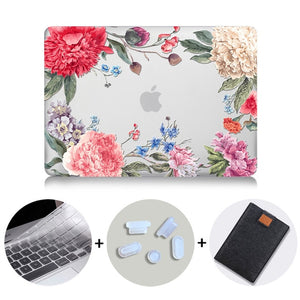 Macbook Case Bundle - Floral Collection - Mixed Ranunculus with US/CA Keyboard Cover, Dust Plug and Sleeve