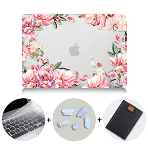 Macbook Case Bundle - Floral Collection - Coral Floral with US/CA Keyboard Cover, Dust Plug and Sleeve