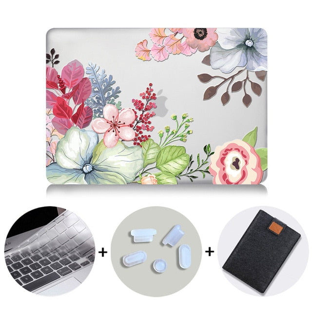Macbook Case Bundle - Floral Collection - Pastel Poppy Flowers with US/CA Keyboard Cover, Dust Plug and Sleeve