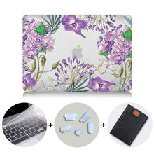 Load image into Gallery viewer, Macbook Case Bundle - Floral Collection - Lavender and Leaves with US/CA Keyboard Cover, Dust Plug and Sleeve