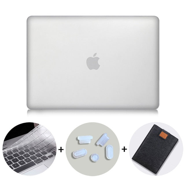 Macbook Case Bundle - Color Collection - Clear with US/CA Keyboard Cover, Dust Plug and Sleeve
