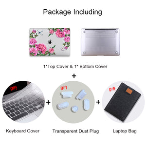 Macbook Case Bundle - Floral Collection - Purple Pink Flowers with US/CA Keyboard Cover, Dust Plug and Sleeve