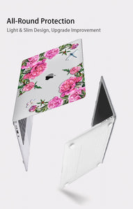 Macbook Case Bundle - Floral Collection - Red Yellow Rose with US/CA Keyboard Cover, Dust Plug and Sleeve