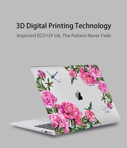 Macbook Case Bundle - Floral Collection - Pink Roses with US/CA Keyboard Cover, Dust Plug and Sleeve