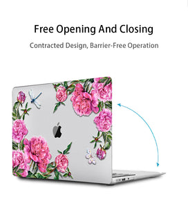 Macbook Case Bundle - Floral Collection - Summer Roses with US/CA Keyboard Cover, Dust Plug and Sleeve