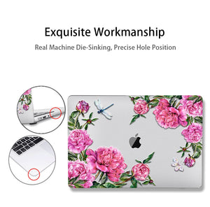 Macbook Case Bundle - Floral Collection - Rhododendron with US/CA Keyboard Cover, Dust Plug and Sleeve