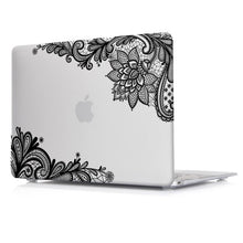 Load image into Gallery viewer, Macbook Case - Lace Collection - Clear Case with Black Lace (with Free US Keyboard Cover and Dust proof cover)