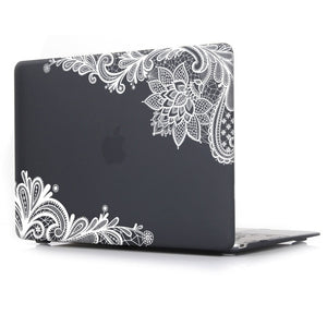 Macbook Case - Lace Collection - Black Case with White Lace (with Free US Keyboard Cover and Dust proof cover)