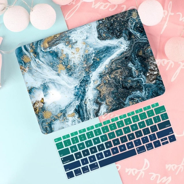 Macbook Case Bundle - Macbook Case and US Keyboard Cover - Marble Collection - Dark Blue with Gold Spark
