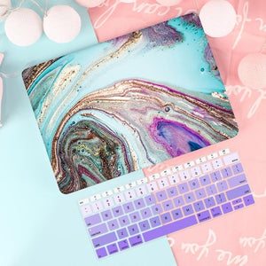 Macbook Case Bundle - Macbook Case and US Keyboard Cover - Marble Collection - Lake Blue Marble