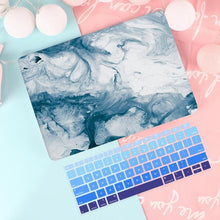Load image into Gallery viewer, Macbook Case Bundle - Macbook Case and US Keyboard Cover - Marble Collection - Ink Blue Marble