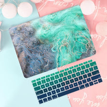 Load image into Gallery viewer, Macbook Case Bundle - Macbook Case and US Keyboard Cover - Marble Collection - Ink Green Blue Marble