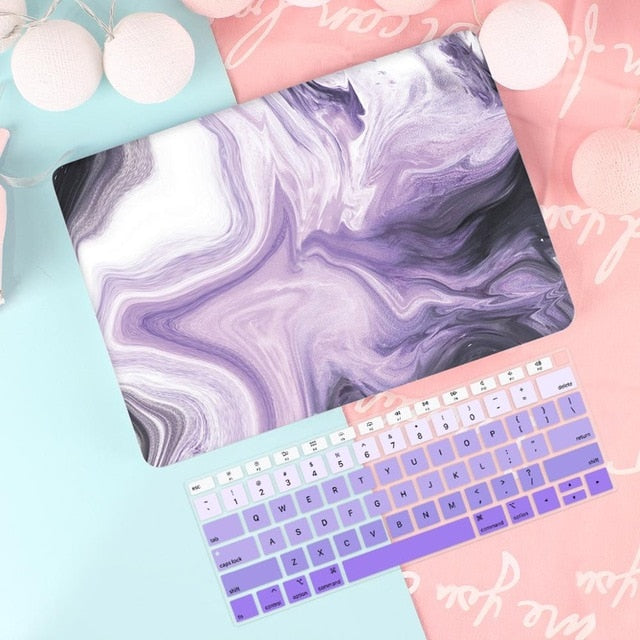 Macbook Case Bundle - Macbook Case and US Keyboard Cover - Marble Collection - Ink Purple Black Marble
