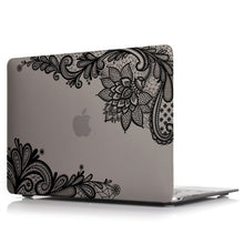 Load image into Gallery viewer, Macbook Case - Lace Collection - Grey Case with Black Lace (with Free US Keyboard Cover and Dust proof cover)