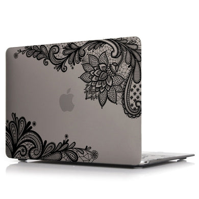 Macbook Case - Lace Collection - Grey Case with Black Lace (with Free US Keyboard Cover and Dust proof cover)