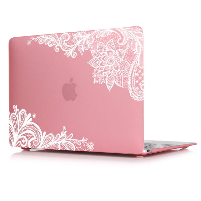 Macbook Case - Lace Collection - Pink Case with White Lace