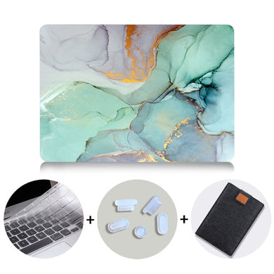 Macbook Case Bundle - Marble Collection - Green Cracked Marble with US/CA Keyboard Cover, Dust Plug and Sleeve