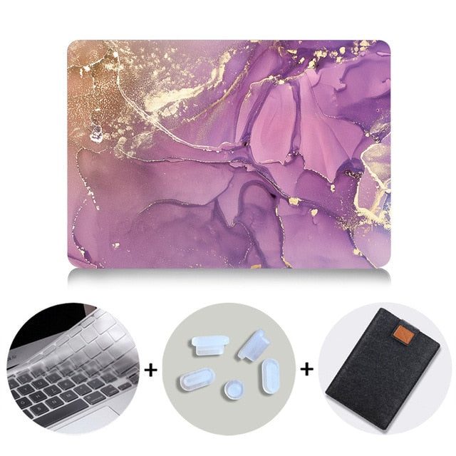 Macbook Case Bundle - Marble Collection - Purple Gold Marble with US/CA Keyboard Cover, Dust Plug and Sleeve