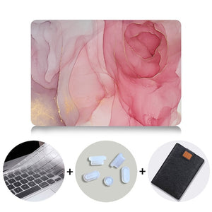 Macbook Case Bundle - Marble Collection - Red Marble with US/CA Keyboard Cover, Dust Plug and Sleeve