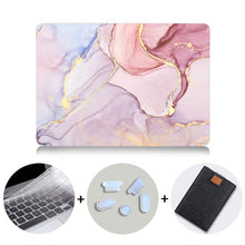 Load image into Gallery viewer, Macbook Case Bundle - Marble Collection - Pastel Pink Marble with US/CA Keyboard Cover, Dust Plug and Sleeve