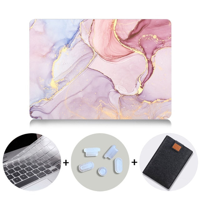 Macbook Case Bundle - Marble Collection - Pastel Pink Marble with US/CA Keyboard Cover, Dust Plug and Sleeve