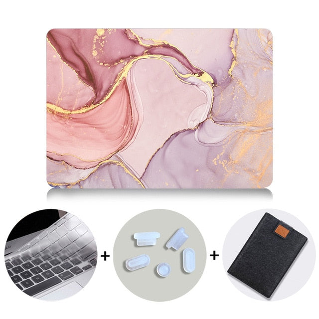 Macbook Case Bundle - Marble Collection - Coral Red Marble with US/CA Keyboard Cover, Dust Plug and Sleeve