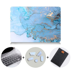Macbook Case Bundle - Marble Collection - Blue Gold Marble with US/CA Keyboard Cover, Dust Plug and Sleeve