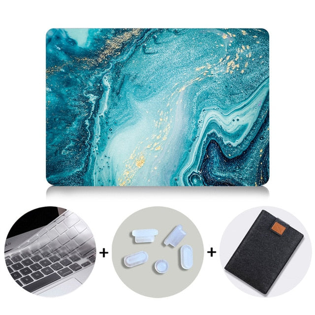 Macbook Case Bundle - Marble Collection - Diffuse Ocean Marble with US/CA Keyboard Cover, Dust Plug and Sleeve