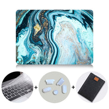 Load image into Gallery viewer, Macbook Case Bundle - Marble Collection - Deep Blue Marble with US/CA Keyboard Cover, Dust Plug and Sleeve