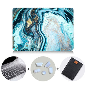 Macbook Case Bundle - Marble Collection - Deep Blue Marble with US/CA Keyboard Cover, Dust Plug and Sleeve