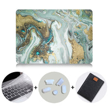 Load image into Gallery viewer, Macbook Case Bundle - Marble Collection - Olive Gold Marble with US/CA Keyboard Cover, Dust Plug and Sleeve
