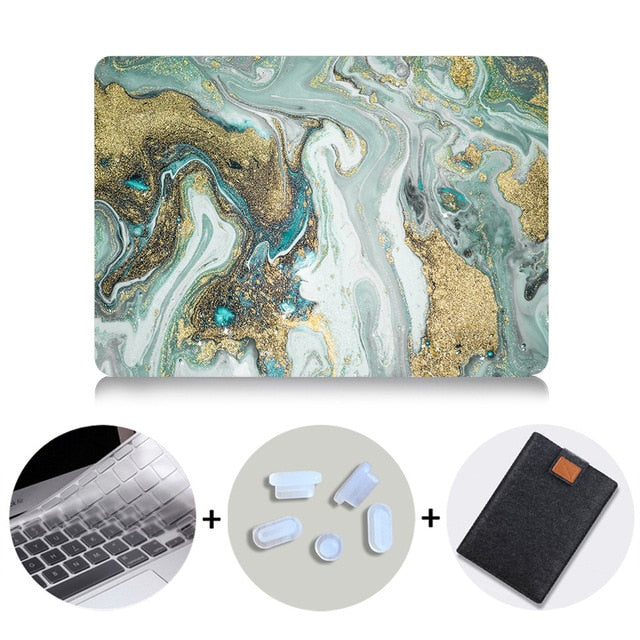 Macbook Case Bundle - Marble Collection - Olive Gold Marble with US/CA Keyboard Cover, Dust Plug and Sleeve