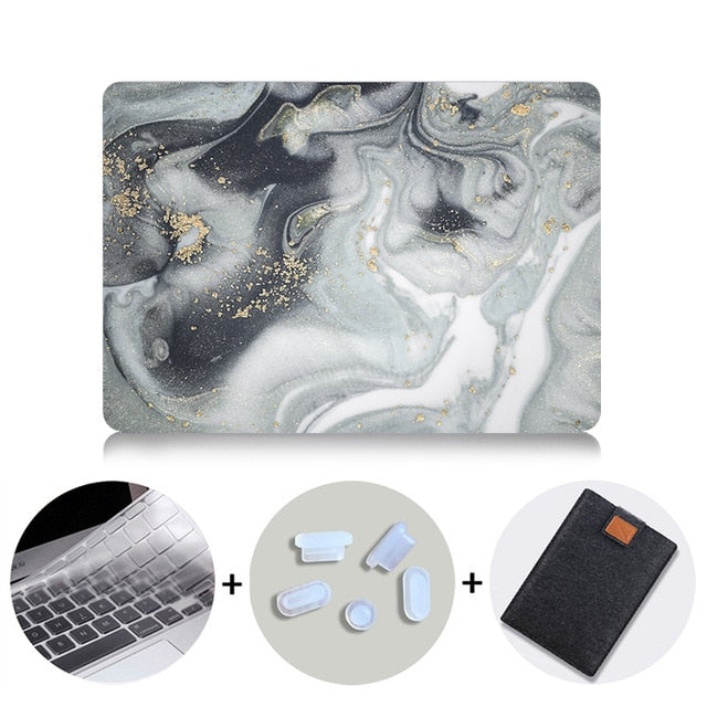 Macbook Case Bundle - Marble Collection - Grey & White Diffuse Marble with US/CA Keyboard Cover, Dust Plug and Sleeve