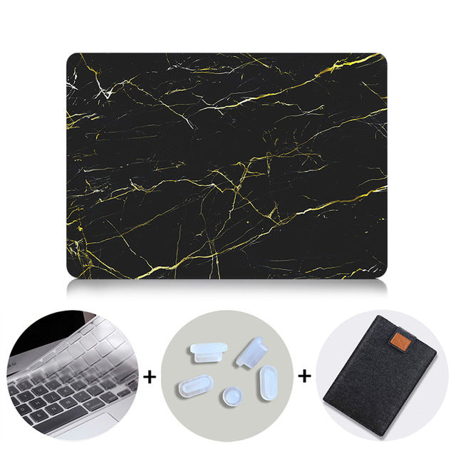 Macbook Case Bundle - Marble Collection - Black Gold Diffuse Marble with US/CA Keyboard Cover, Dust Plug and Sleeve