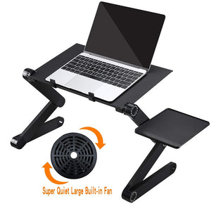 Laptop Table Stand - Adjustable Folding Ergonomic Design Stand With Mouse Pad