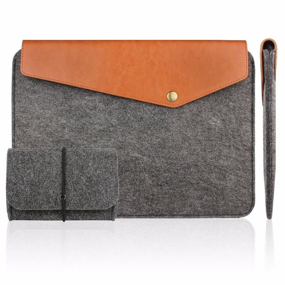 Felt&Leather Laptop Sleeve Tablet Briefcase Carrying Bag - Grey